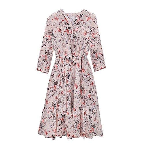 Jupe Robes fleur Longues Femmes xs Nue Longue Migmv Impression nbsp;mousseline Manches WqwRxOE0O