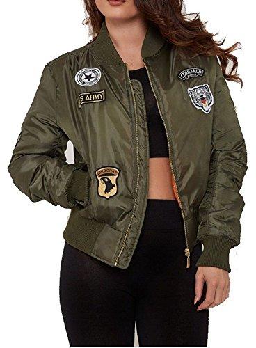 Military Blazer Badges (New Womens Ladies MA1 Combat Badge Army Vintage Padded Bomber Biker Jacker XS-L-Khaki-UK 14)