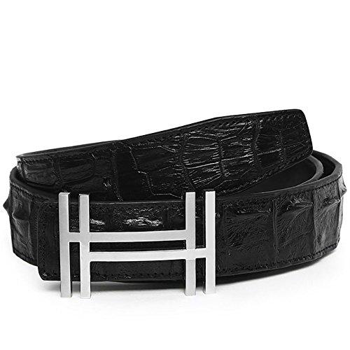 Yuangu Men 's 38mm Luxury HH Top Crocodile Leather Belt (105cm/41.3inch (34-36), Black Silver)