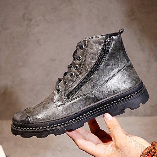 HL-PYL-uomini scarpe alte Martin stivali scarpe All-Match Scarpe Casual Scarpe Uomo in Europa,39,grigio
