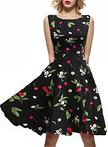 (IHOT Vintage 1950's Floral Spring Garden Party Picnic Dress Party Cocktail Dress for Women Black Floral)