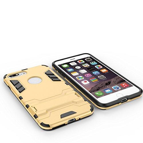 2 en 1 New Armour style dur hybride double couche Armure Defender PC Disques Etui avec support antichoc Case pour iPhone 7 Plus ( Color : Gray )