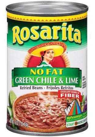 (Rosarita No Fat Green Chile & Lime Refried Beans 16 oz. (Pack of 2))