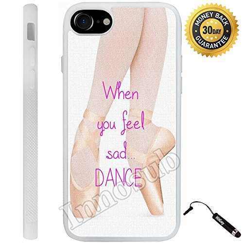 Custom iPhone 7 Case (Ballerina Dancing in Pink Ballet Shoes) Edge-to-Edge Rubber White Cover with Shock and Scratch Protection | Lightweight, Ultra-Slim | Includes Stylus Pen by (Ipod White Shoes)