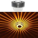 HuntGold Home Lighting LED 3W Porch Decor Wall Lamp Aluminum Sunflower Flush Ceiling Light Yellow