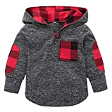 Happy Kido Toddler Baby Boys Girls Stylish Plaid Floral Pocket Hooded Coat,Kids Jackets Stretchy Cloak Tops Clothes (Plaid, 18-24 Months)