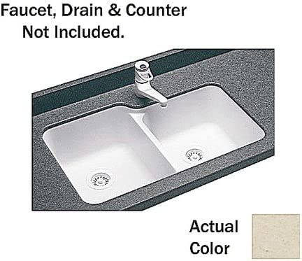Swanstone US03015SB.050 Solid Surface Undermount Double-Bowl Kitchen Sink, 33-in L X 21.25-in H X 8.25-in H, Tahiti Desert