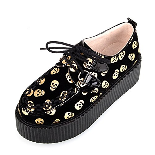 Girl's Shoes Goth Print Creepers Punk Platform Fashion RoseG Skulls Flats Yellow 7RzqdZ7w