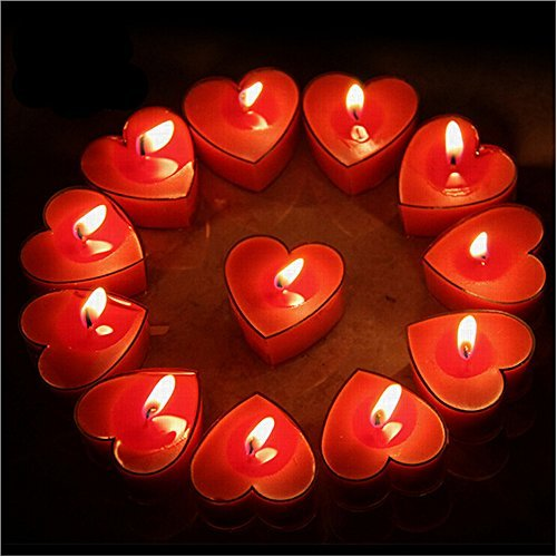 Celestte (TM) Scented Candles, 12 Pcs Sweet Romantic Love Heart Shaped Floating Candle for Home Decorations Wedding Birthday Party Celebrations (Red) -