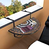 Festnight Outdoor Balcony Folding Deck Table, Patio Hanging Railing Table, Hanging Serving Side Table, Terracotta White