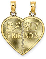 10k Yellow Gold Best Friends Bestfriend Friendship Break A Part Heart Pendant Charm Necklace Fine Jewelry For Women Gifts For Her