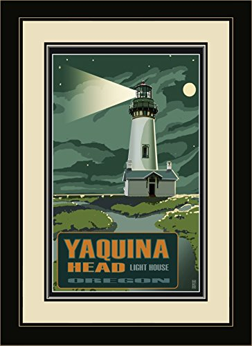 (Northwest Art Mall MR-1148 MFGDM Yaquina Head Lighthouse At Night Framed Wall Art by Artist Mike Rangner, 13 by)