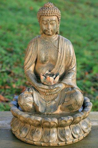 BRUNNEN BUDDHA SKULPTUR STATUE 52cm MIT WASSER + LICHT FENG SHUI FIGUR