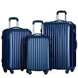 Merax Travelhouse 3 Piece PC+ABS Spinner Luggage Set with TSA Lock (Navy)