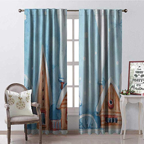 Hengshu Christmas House White Roof Room Darkening Wide Curtains Decor Curtains by W96 x L96 ()