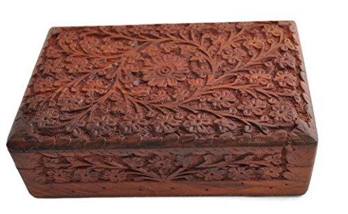 StarZebra Unique Artisan Handcarved Rosewood Wooden Jewelry Box From India