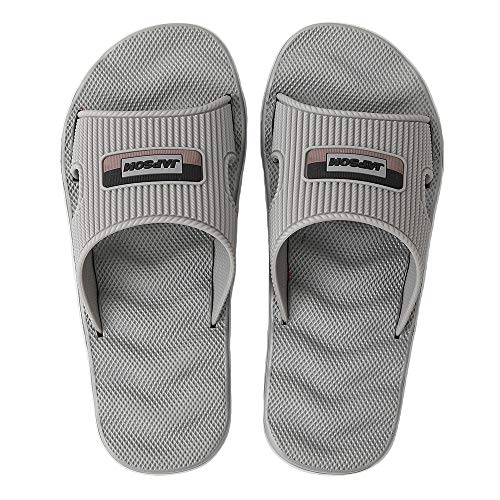 WENBER Women's Men's Casual Sandals, Soft Elastic Flat Slides Shoes with Waterproof Arch Support No-Slip Sole for Bathroom Shower Swimming Pool Beach (11 M US/Men, Grey/Slides/Men)