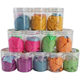 12 Pack of Multicolor Safety Tested Non-Toxic Molding Toy Soft Sand Clay W/Cookie Cutter (Colors May Vary)