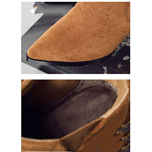 Per Caldo Braun Punta Boots Tinta Donna Scarpe Stivaletti Inverno Blocco Moda Tacco Foderato on A Slip Unita Stivale Comoda E0dqwaUq