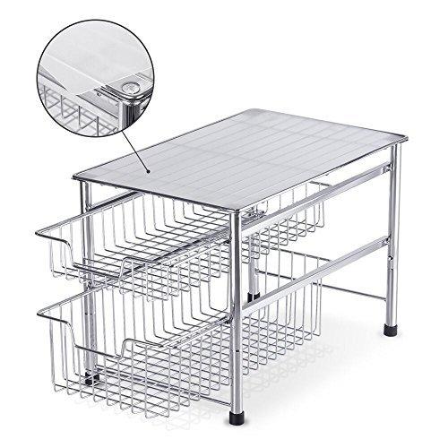 Sink Organizer Shelf Under Kitchen Cabinet Storage Sliding: NEX 2-Tier Sliding Basket Organizer Drawer Under Sink