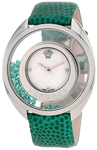 Versace Women's 86Q961MD497 S455 Destiny Precious Genuine Lizard Mother-Of-Pearl Diamond 70-Emerald Watch