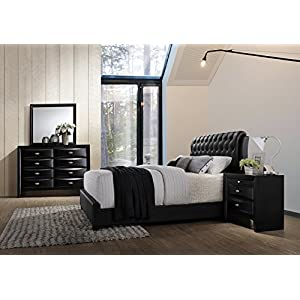 Roundhill Furniture Blemerey 110 Wood Bonded Leather Bed Group with King Bed, Dresser, Mirror and Night Stand, Black-P