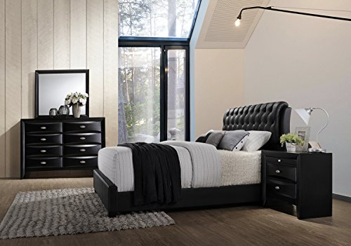 Roundhill Furniture Blemerey 110 Wood Bonded Leather Bed Group with Queen Bed, Dresser, Mirror and Night Stand, Black by Roundhill Furniture