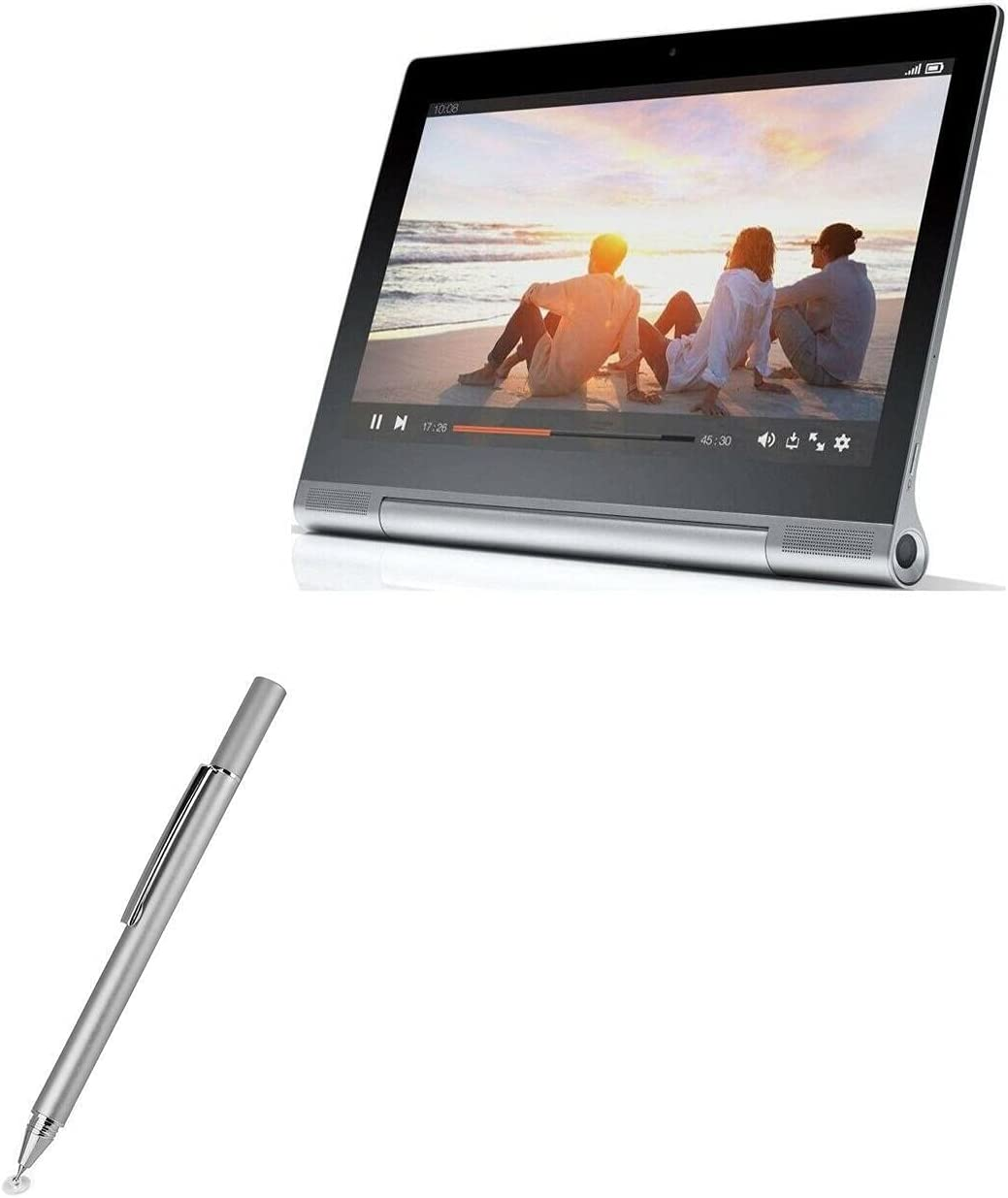 Stylus Pen for Lenovo Yoga Tablet 2 Pro (Stylus Pen by BoxWave) - FineTouch Capacitive Stylus, Super Precise Stylus Pen for Lenovo Yoga Tablet 2 Pro - Metallic Silver