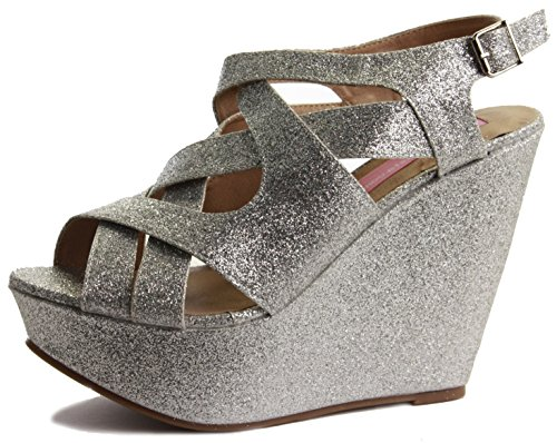 WOMENS LADIES CHUNKY WEDGE HIGH HEEL STRAP STRAPPY ANKLE PLATFORM SANDALS SHOES SIZE Style K - Silver Glitter dyFY5A4N2