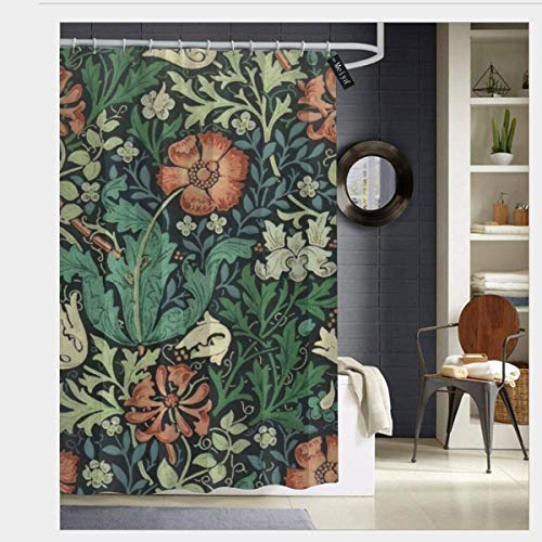 William Morris Round Art - SZZWY William Morris Compton Floral Art Nouveau Pattern Shower Curtain 3D Printing Waterproof Coated Polyester Fabric Bathroom with 12 Hooks 71 inches