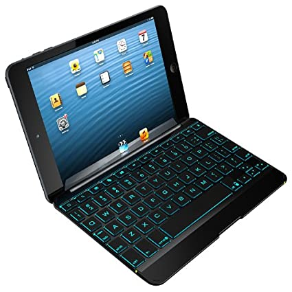 58c18385617 Amazon.com: ZAGG Cover with Backlit Bluetooth Keyboard for Apple iPad mini  1 / mini 2 / iPad Mini 3- Black: Computers & Accessories