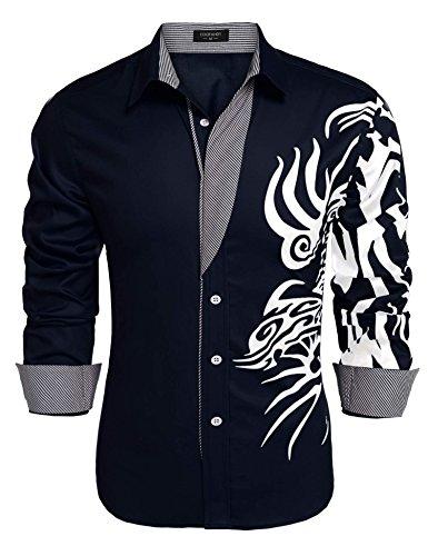 COOFANDY Mens Print Button Down Dress Shirt Fashion Long Sleeve Casual Shirts