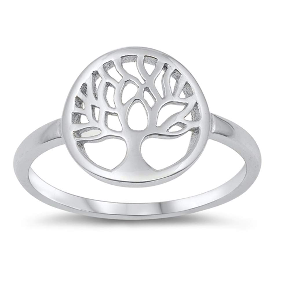 JewelryVolt Rhodium Plated 925 Sterling Silver Tree of Life Ring for Girls