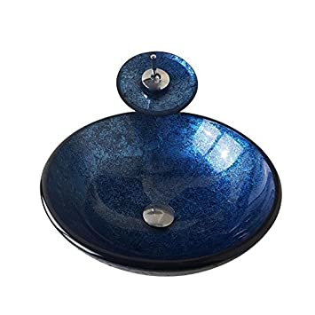 Merveilleux HomeLava Lavabo Vasque En Verre Trempé Bleu, Avec Robinet Cascade à Poser  La Salle De