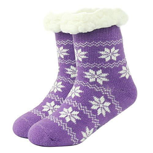 Home Slipper Winter Warm Socks Girls Cute Plush Lined Anti-Slip Indoor Slipper Socks 1/3 Pack