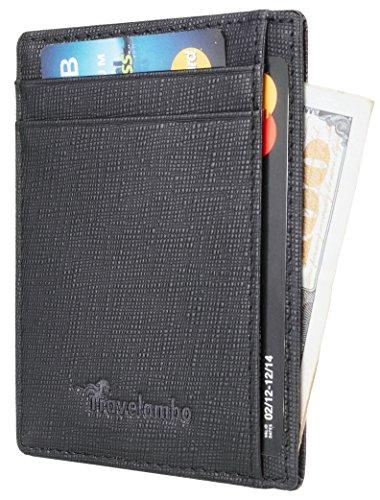 Travelambo RFID Front Pocket Wallet Minimalist Wallet Slim Wallet Genuine Leather(crosshatch black)