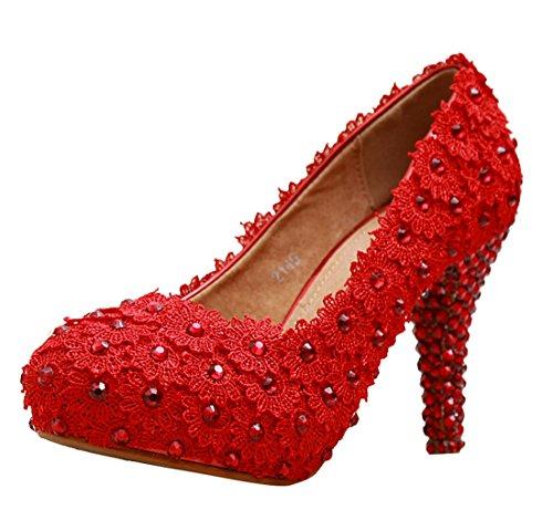 Tacco Da Donna Rosso Con Tacco A Spillo, Scarpe Da Sera Artigianali, Scarpe Da Sera Da Donna, Minishion