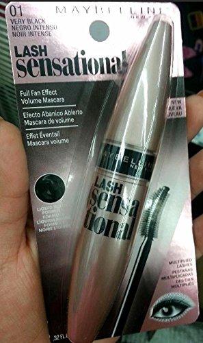 Maybelline New York Lash Sensational Mascara, Very Black [01] 0.32 oz (Pack of 2)
