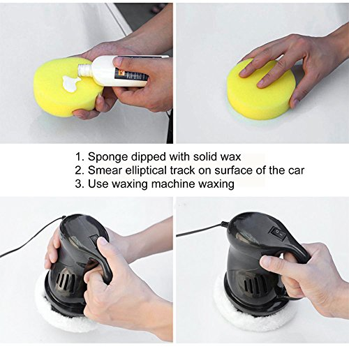 EIGIIS 12V 40W Car Polisher Machine Car Waxer Polisher Kit with 2 Car Buffing Pads Suit for Cars Railings Plastic Glass Floors Homes (Orange) by EIGIIS (Image #5)