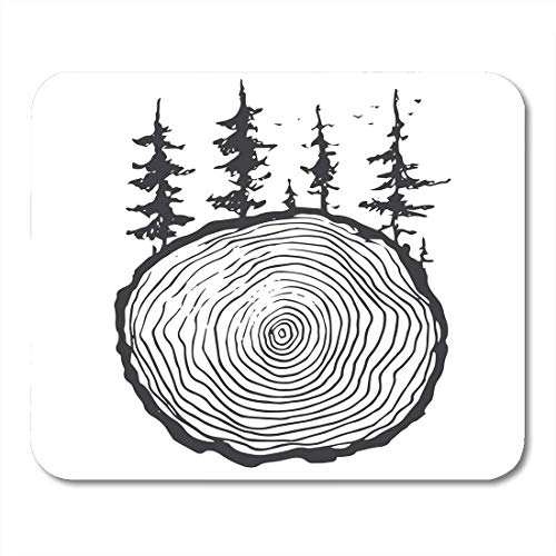 Mouse Pad Veneer Woodland Natural Wood Black and White Drawn Hand Mousepad for Notebooks,Desktop Computers Mouse Mats, Office Supplies ()