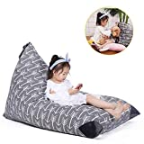 Stuffed Animal Storage Bean Bag Chair for Kids and Adults. Premium Canvas Stuffie Seat - Cover ONLY (Grey with White Arrows 200L/52 Gal)