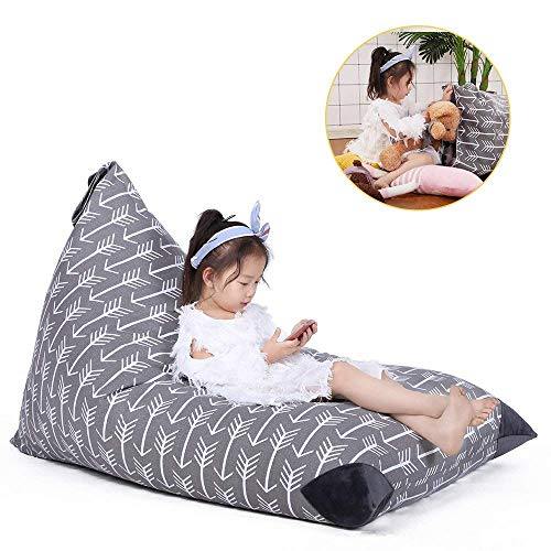 Stuffed Animal Storage Bean Bag Chair for Kids and Adults. Premium Canvas Stuffie Seat - Cover ONLY (Grey with White Arrows 200L/52 ()