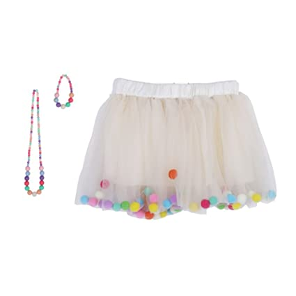 53afc69f7 Amazon.com: Wingbind Girls Little Girls 4 Layered Tutu Skirt 3D Pom Pom  Puff Balls with Matching Color Necklace and Bracelet: Clothing
