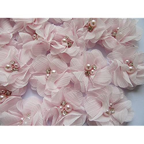 Fabrics flowers for dresses amazon yycraft pack of 20 pieces chiffon 2 flower rhinestone for craft projects baby pink mightylinksfo