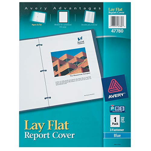 (Avery 47780 Lay Flat View Report Cover w/Flexible Fastener, Letter, 1/2