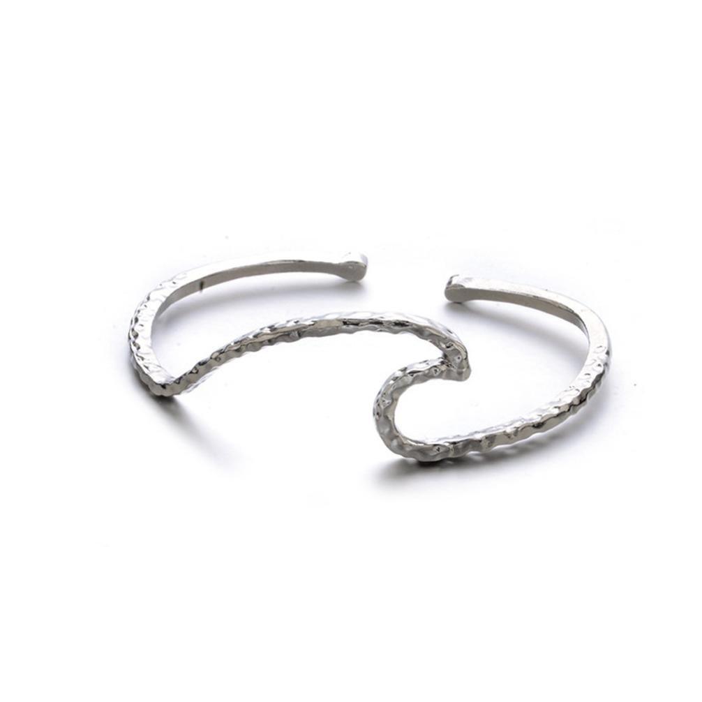 Gyoume Women Chain Bracelet Hand Decoration Jewelry Women Waves Punk Cuff Bracelet Bangle Chain Wristband Jewelry (Sliver)
