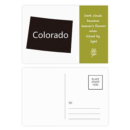 Colorado America USA mapa silueta poesía Postal Set Tarjeta ...
