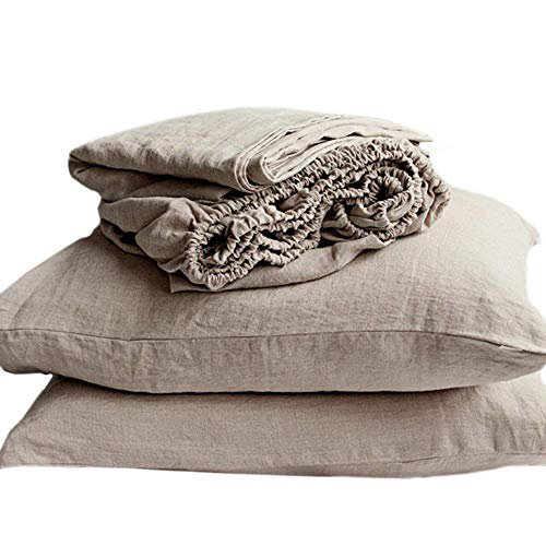 Linen French Design (Lausonhouse Luxurious 100% Pure French Linen Sheet Set - Queen)