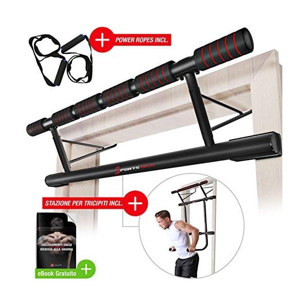 Sportstech Occasione Unica! Barra trazioni 4in1 Inclusive Dip Bar & Power Ropes, Sbarra per Porta Pieghevole KS500… 1 spesavip