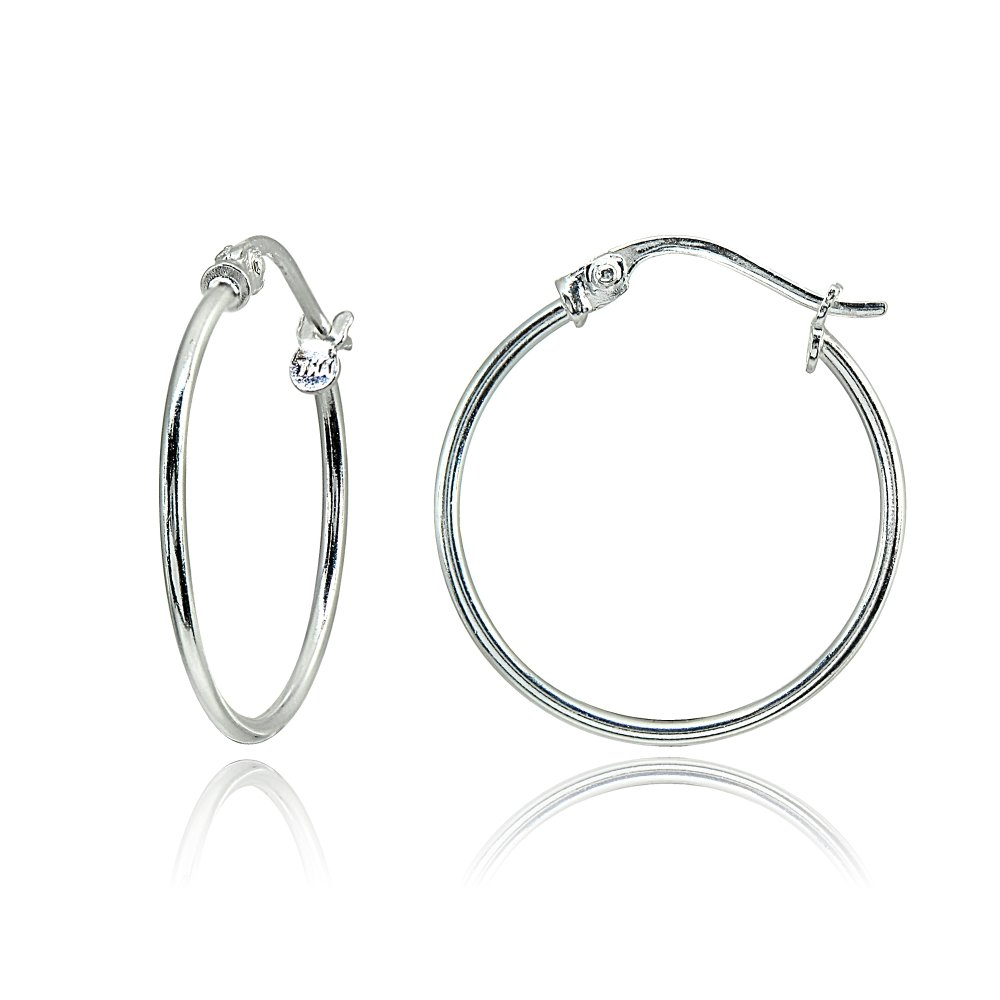 Sterling Silver Small 20mm High Polished Round Thin Lightweight Unisex Click-Top Hoop Earrings